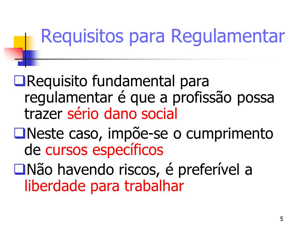 Requisitos para Regulamentar