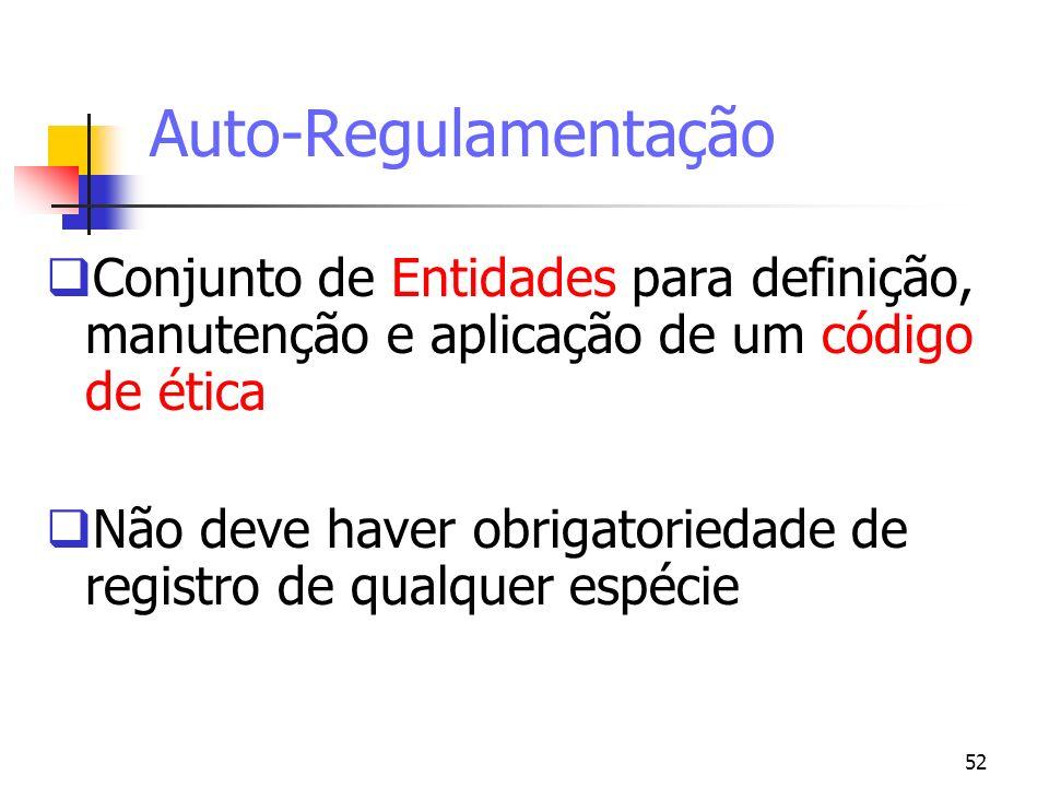 Auto-Regulamentação Conjunto de Entidades para definição, manutenção e aplicação de um código de ética.