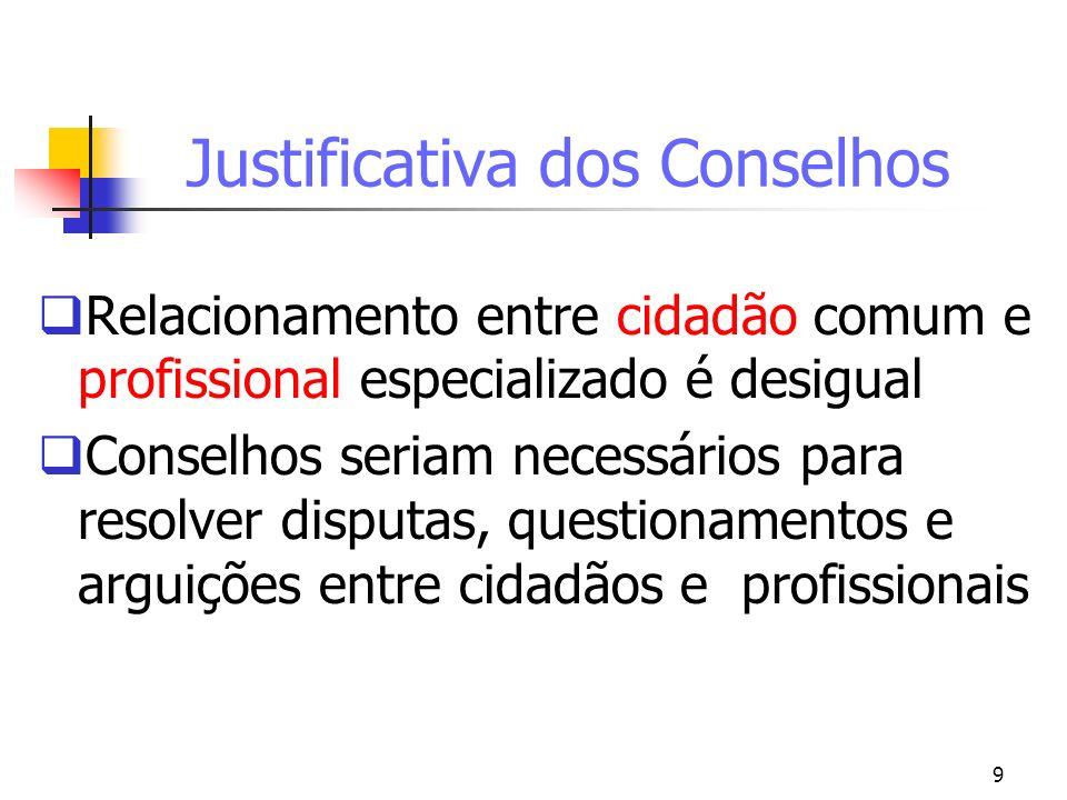 Justificativa dos Conselhos
