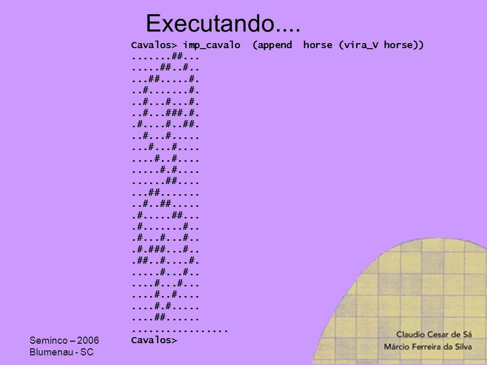 Executando.... Cavalos> imp_cavalo (append horse (vira_V horse))