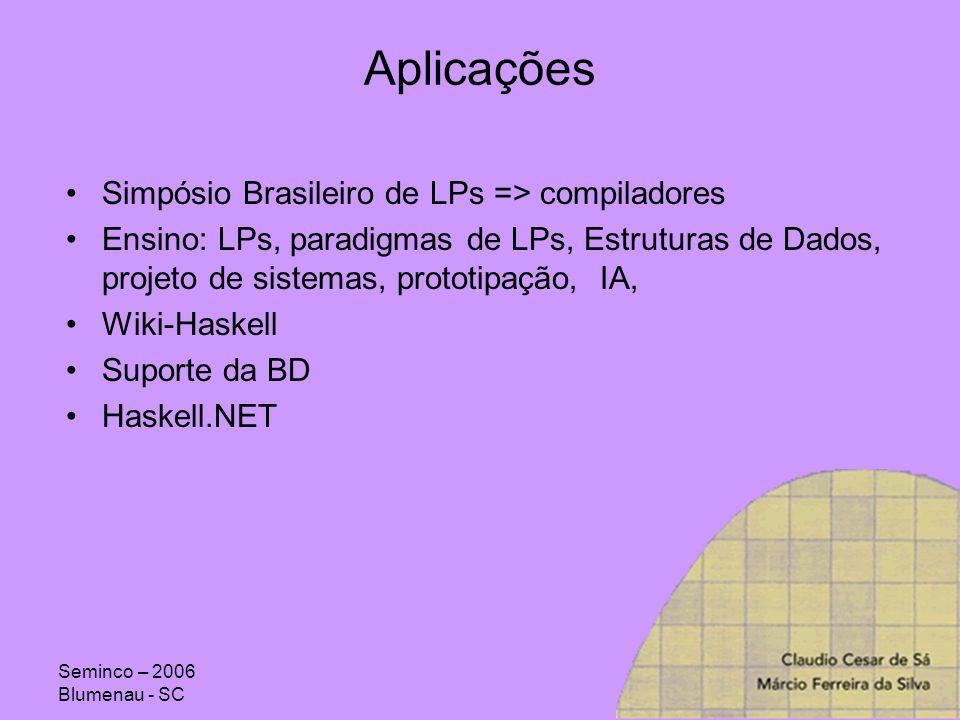 Aplicações Simpósio Brasileiro de LPs => compiladores