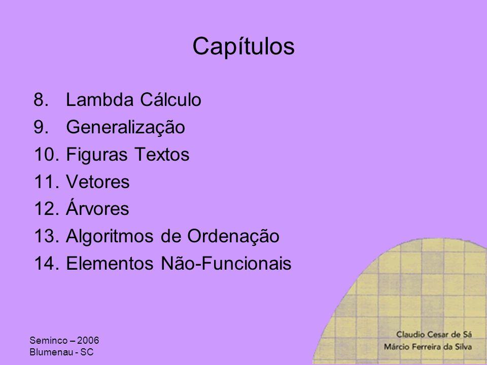 Capítulos Lambda Cálculo Generalização Figuras Textos Vetores Árvores