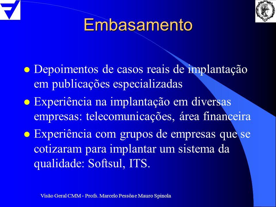 Embasamento Depoimentos de casos reais de implantação em publicações especializadas.
