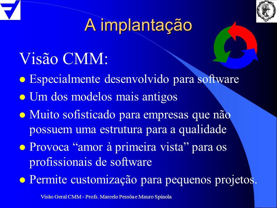 A implantação Visão CMM: Especialmente desenvolvido para software