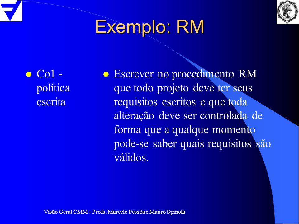 Exemplo: RM Co1 - política escrita