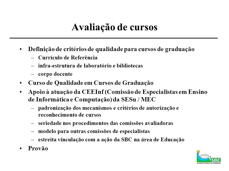 Avaliação de cursos Definição de critérios de qualidade para cursos de graduação. Currículo de Referência.