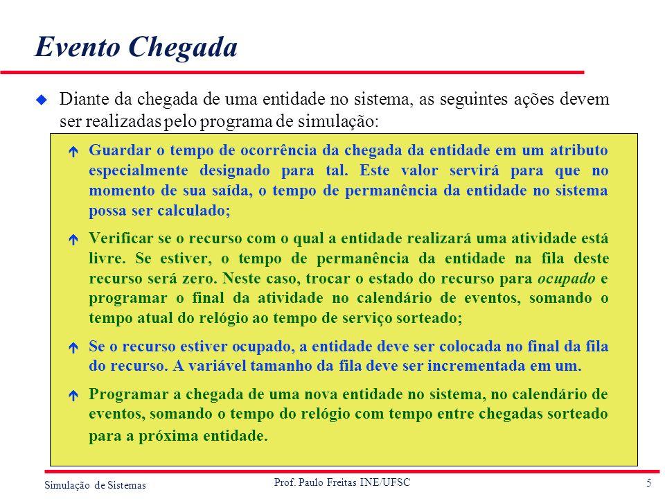 Evento Chegada Diante da chegada de uma entidade no sistema, as seguintes ações devem ser realizadas pelo programa de simulação: