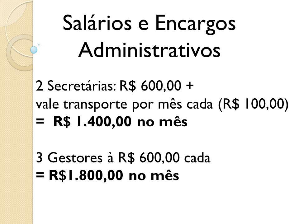 Salários e Encargos Administrativos 2 Secretárias: R$ 600,00 +
