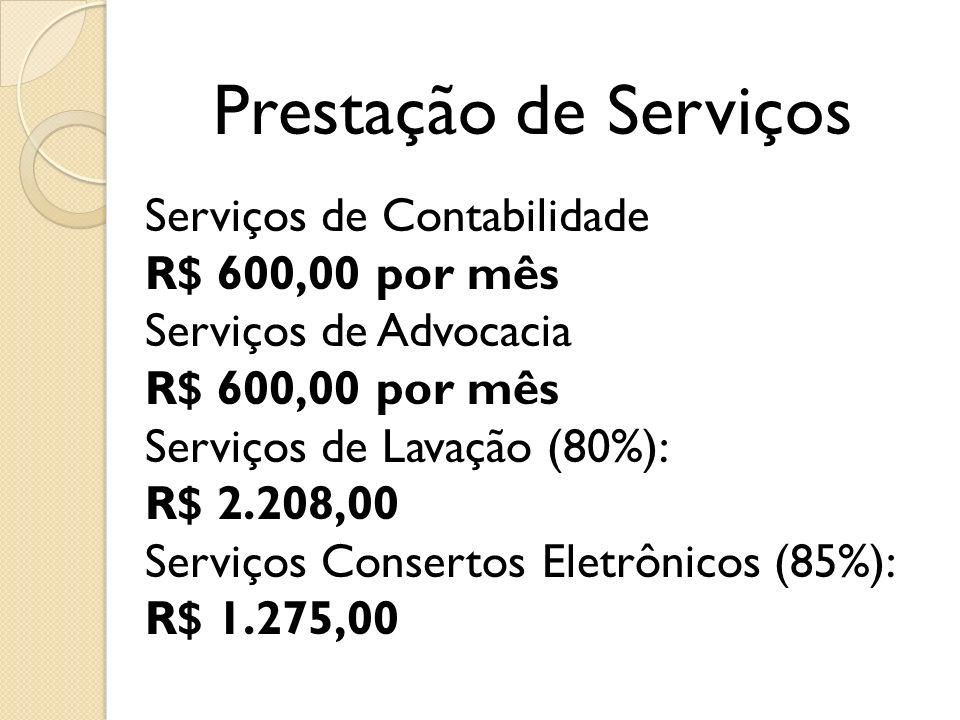 Prestação de Serviços Serviços de Contabilidade R$ 600,00 por mês