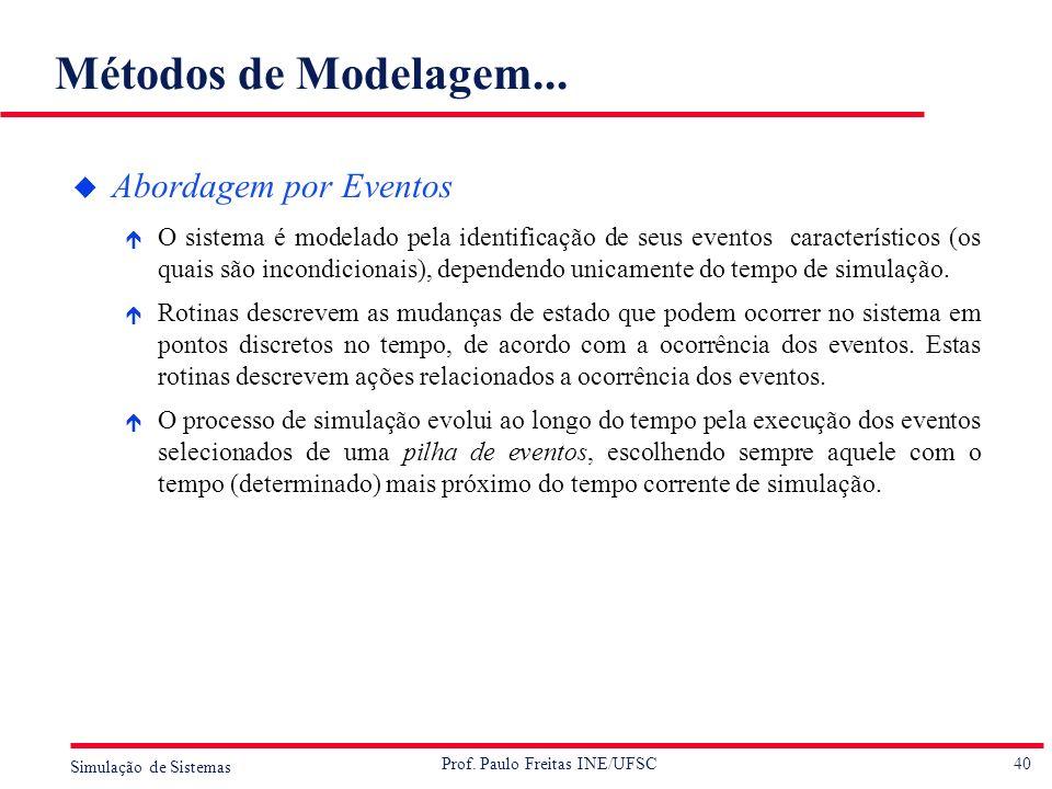 Métodos de Modelagem... Abordagem por Eventos