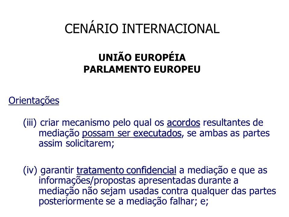 CENÁRIO INTERNACIONAL UNIÃO EUROPÉIA PARLAMENTO EUROPEU