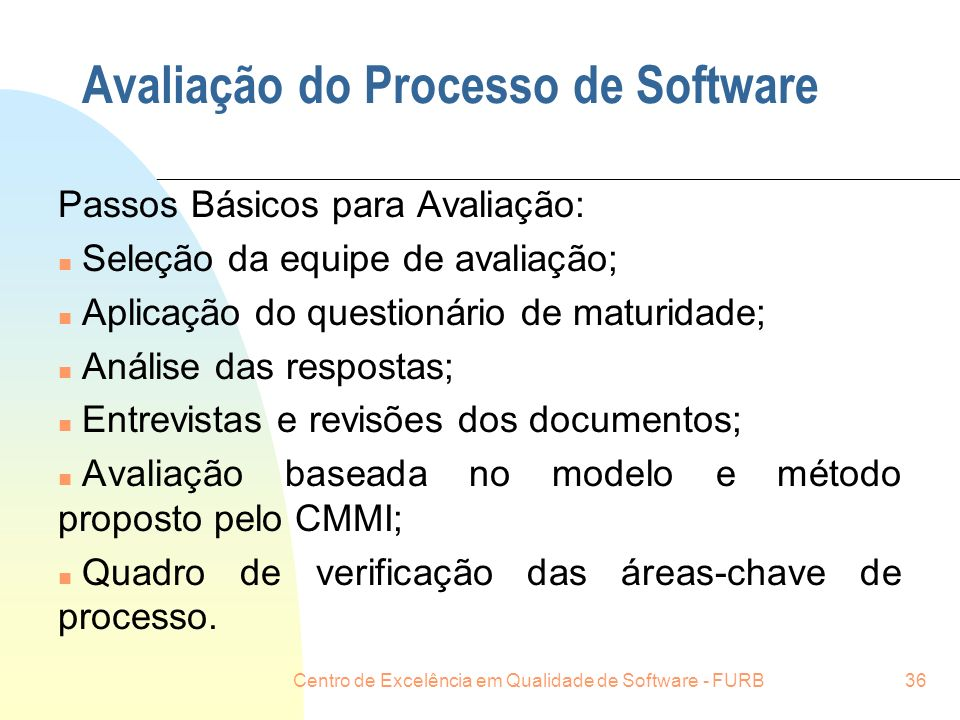 Avaliação do Processo de Software