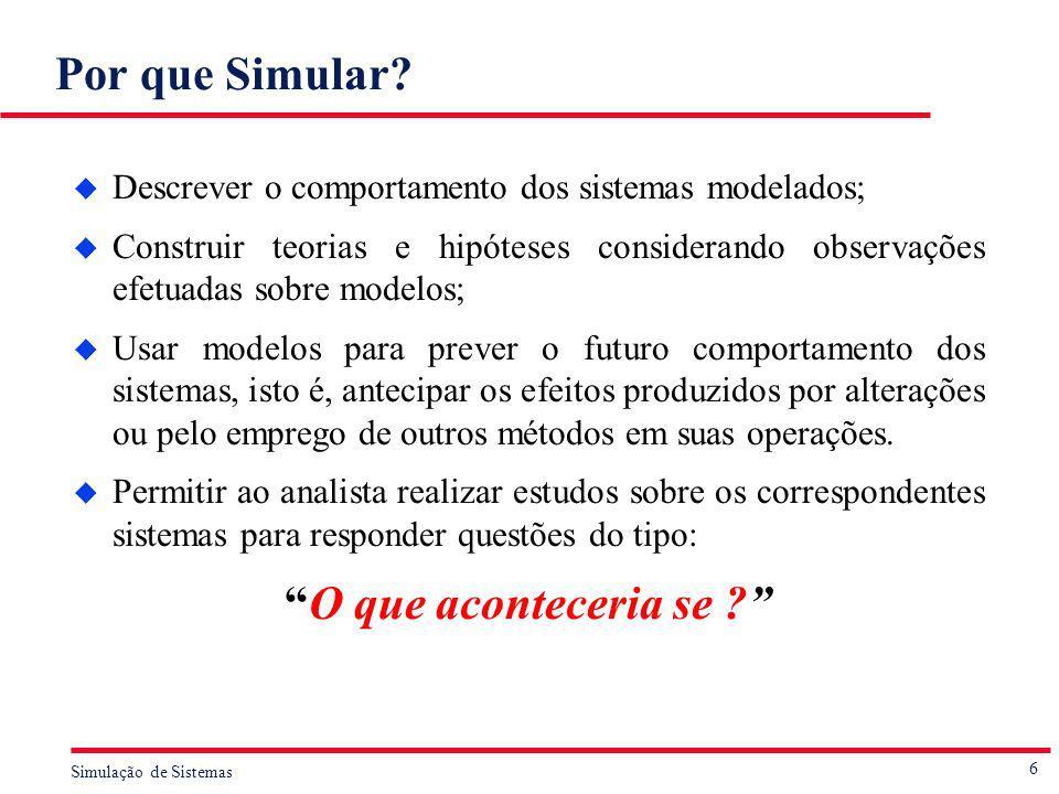 Por que Simular Descrever o comportamento dos sistemas modelados;