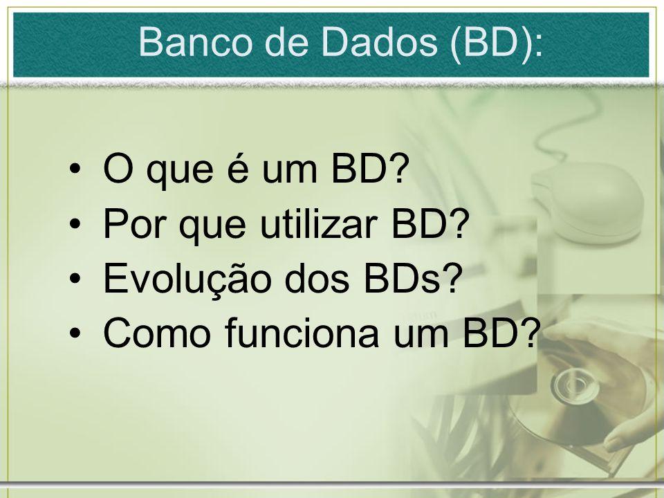 O que é um BD Por que utilizar BD Evolução dos BDs