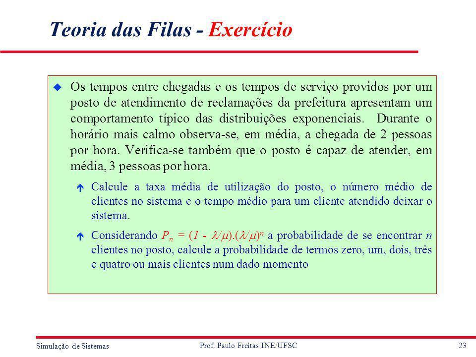 Teoria das Filas - Exercício