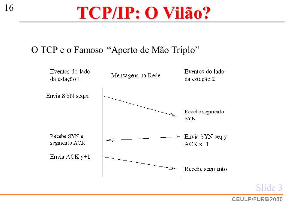 TCP/IP: O Vilão O TCP e o Famoso Aperto de Mão Triplo Slide 3