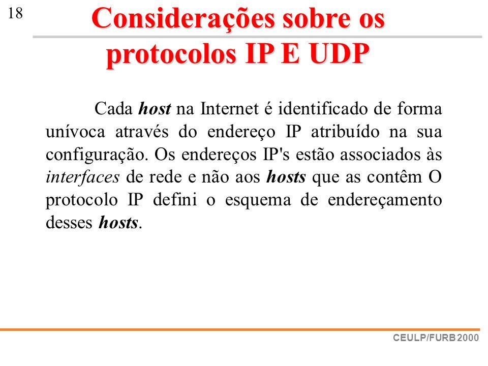 Considerações sobre os protocolos IP E UDP