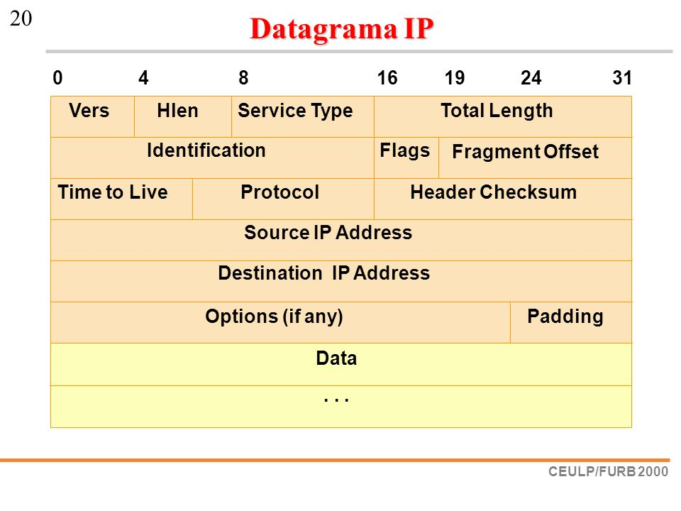 Datagrama IP Vers Hlen Service Type Total Length Identification Flags
