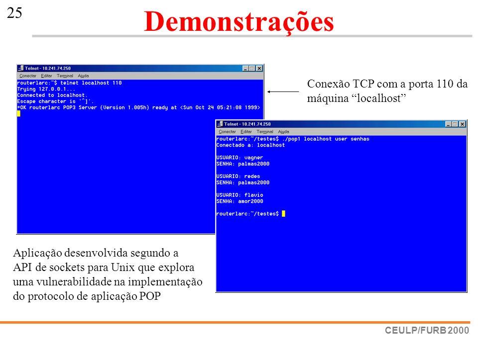 Demonstrações Conexão TCP com a porta 110 da máquina localhost