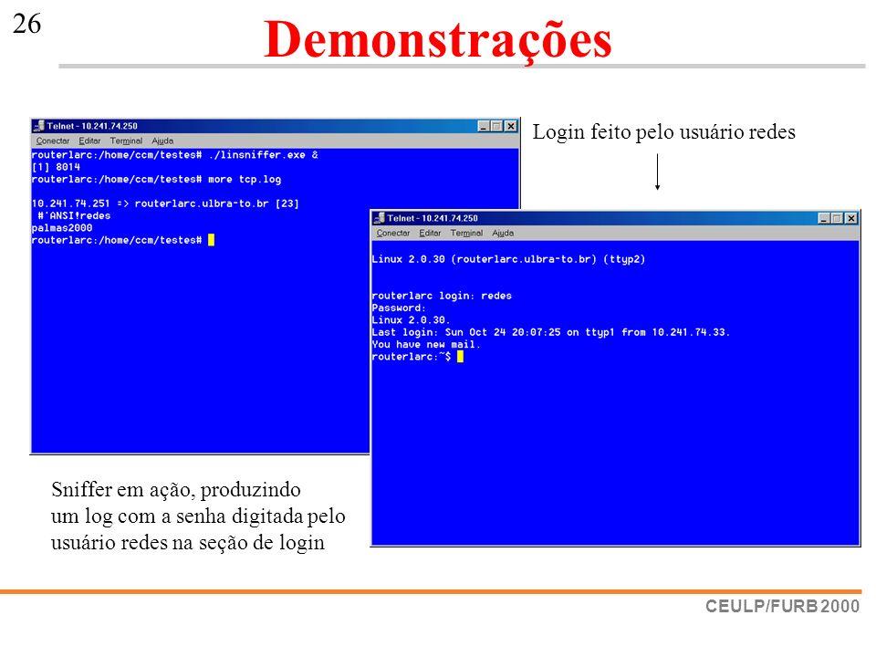Demonstrações Login feito pelo usuário redes