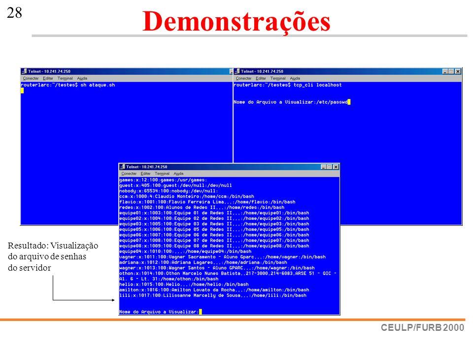Demonstrações Resultado: Visualização do arquivo de senhas do servidor