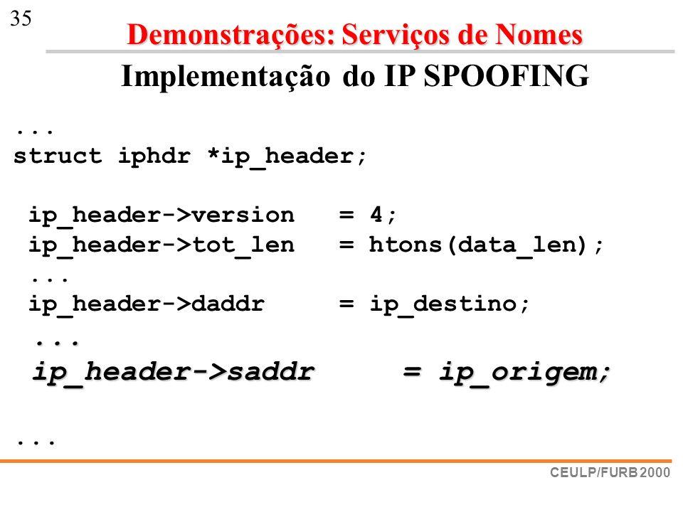 Implementação do IP SPOOFING