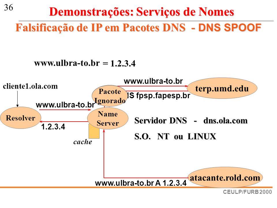 Falsificação de IP em Pacotes DNS - DNS SPOOF