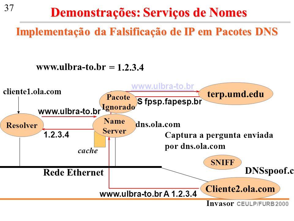 Implementação da Falsificação de IP em Pacotes DNS