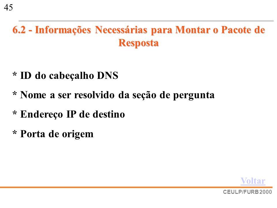 6.2 - Informações Necessárias para Montar o Pacote de Resposta