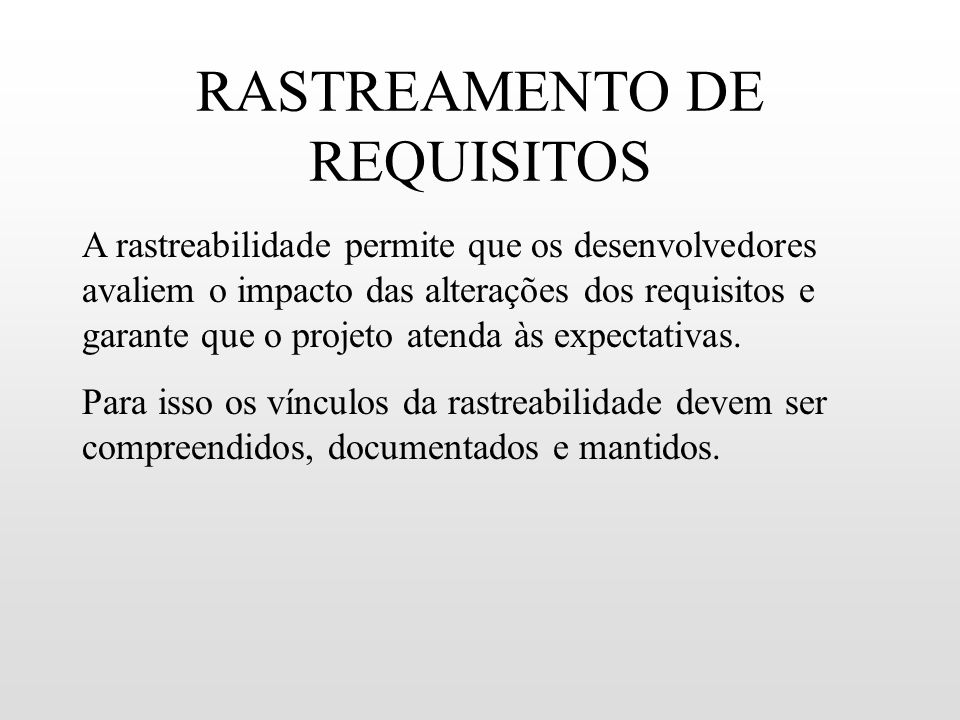 RASTREAMENTO DE REQUISITOS