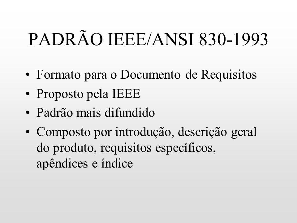 PADRÃO IEEE/ANSI 830-1993 Formato para o Documento de Requisitos