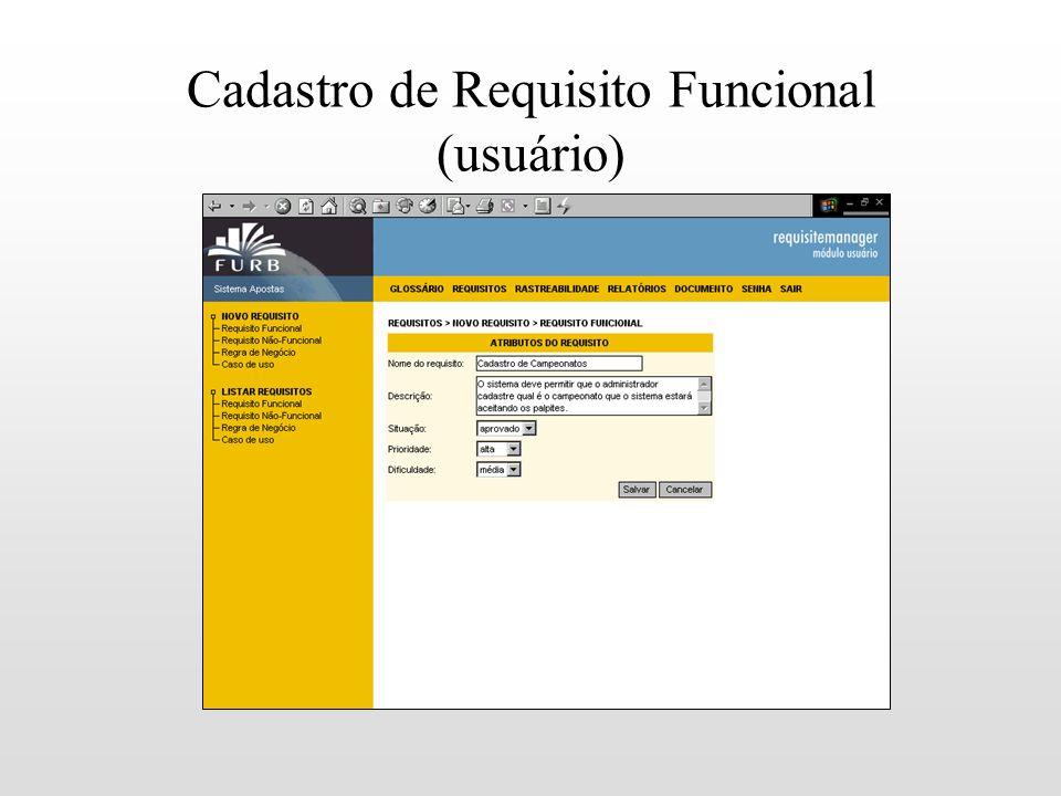 Cadastro de Requisito Funcional (usuário)