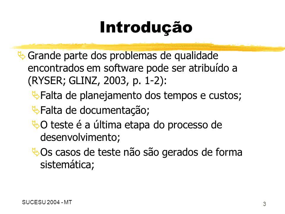 Introdução Grande parte dos problemas de qualidade encontrados em software pode ser atribuído a (RYSER; GLINZ, 2003, p. 1-2):