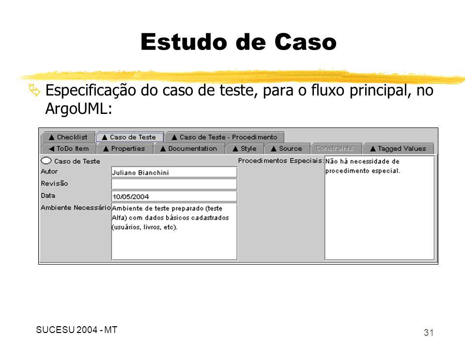 Estudo de Caso Especificação do caso de teste, para o fluxo principal, no ArgoUML: SUCESU 2004 - MT