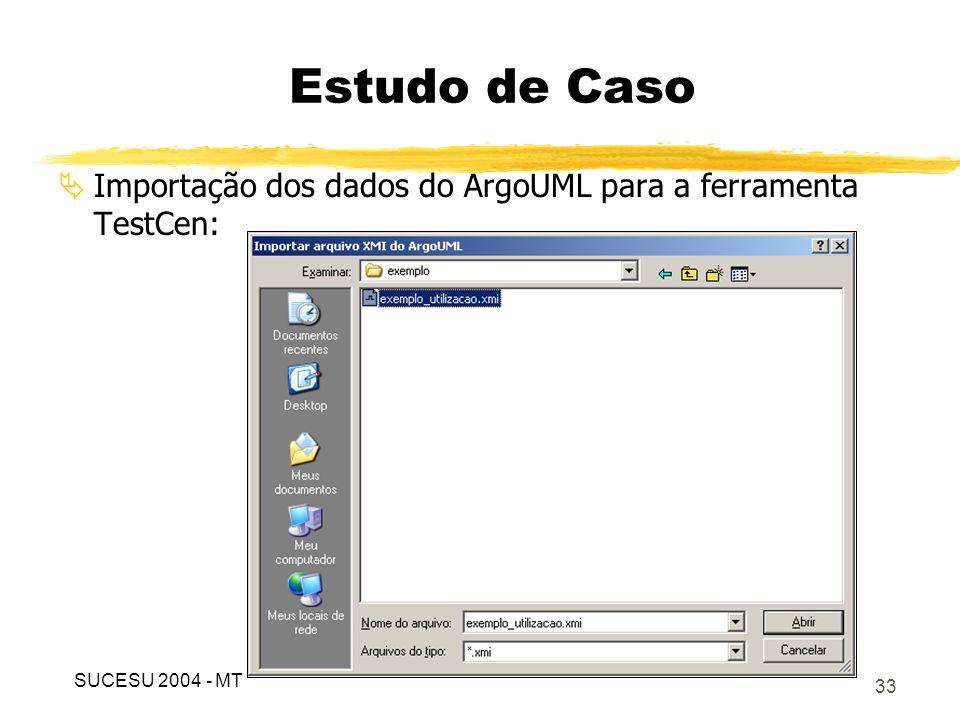 Estudo de Caso Importação dos dados do ArgoUML para a ferramenta TestCen: SUCESU 2004 - MT
