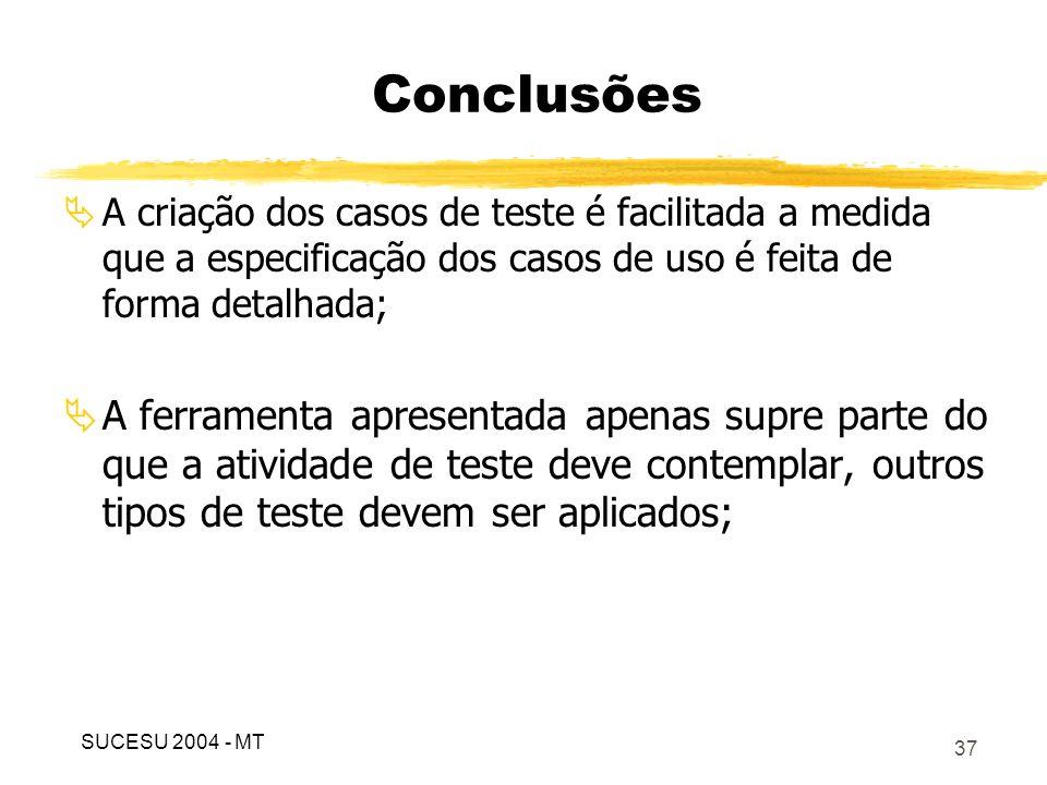 Conclusões A criação dos casos de teste é facilitada a medida que a especificação dos casos de uso é feita de forma detalhada;