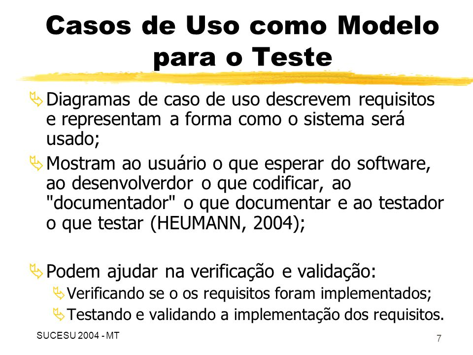 Casos de Uso como Modelo para o Teste