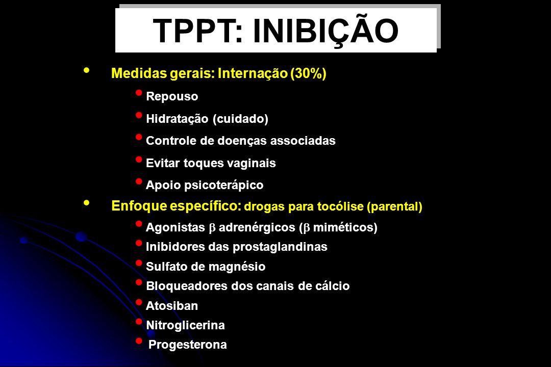 TPPT: INIBIÇÃO Medidas gerais: Internação (30%)
