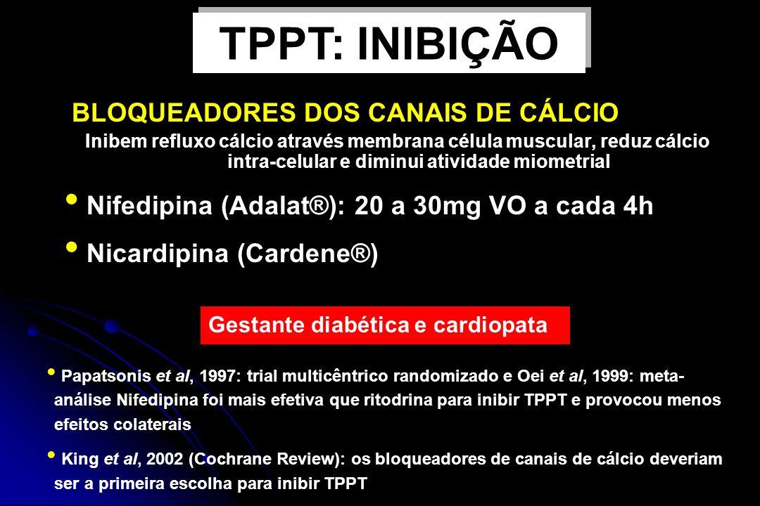 TPPT: INIBIÇÃO BLOQUEADORES DOS CANAIS DE CÁLCIO
