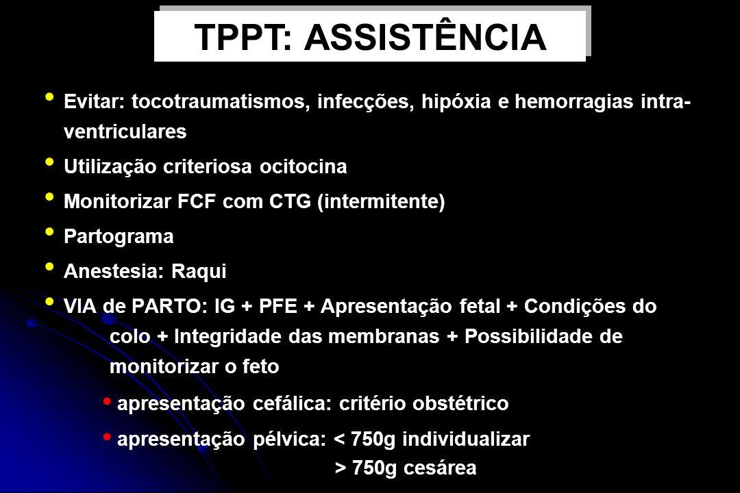 TPPT: ASSISTÊNCIA Evitar: tocotraumatismos, infecções, hipóxia e hemorragias intra-ventriculares. Utilização criteriosa ocitocina.