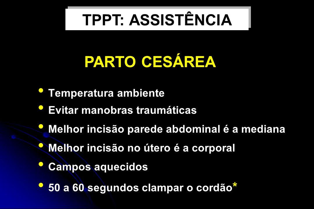TPPT: ASSISTÊNCIA PARTO CESÁREA Temperatura ambiente