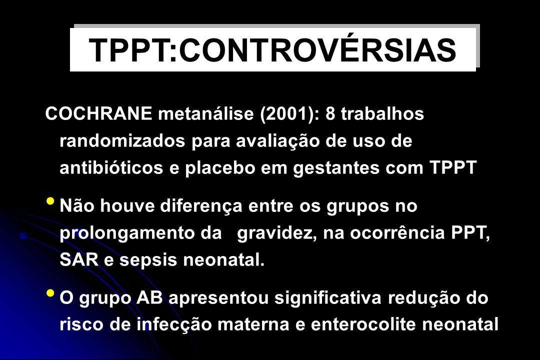 TPPT:CONTROVÉRSIAS COCHRANE metanálise (2001): 8 trabalhos randomizados para avaliação de uso de antibióticos e placebo em gestantes com TPPT.