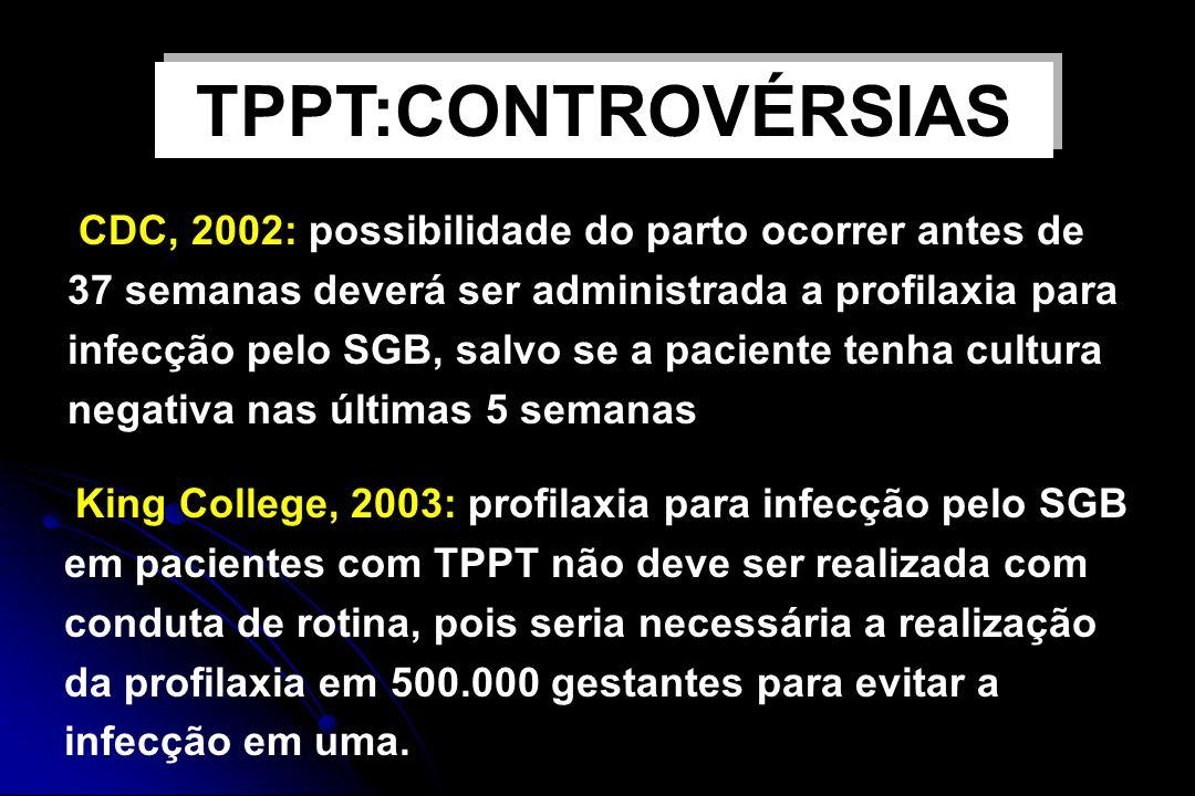 TPPT:CONTROVÉRSIAS Profilaxia antibiótica para SGB