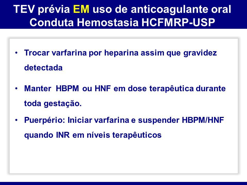 TEV prévia EM uso de anticoagulante oral Conduta Hemostasia HCFMRP-USP