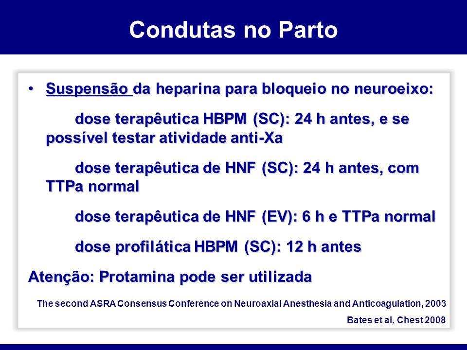 Condutas no Parto Suspensão da heparina para bloqueio no neuroeixo: