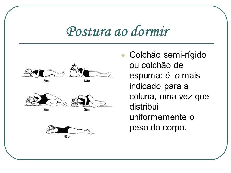 Postura ao dormirColchão semi-rígido ou colchão de espuma: é o mais indicado para a coluna, uma vez que distribui uniformemente o peso do corpo.