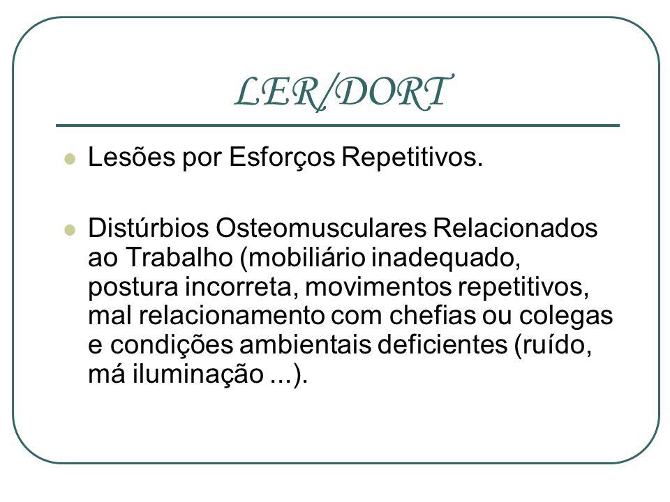 LER/DORT Lesões por Esforços Repetitivos.