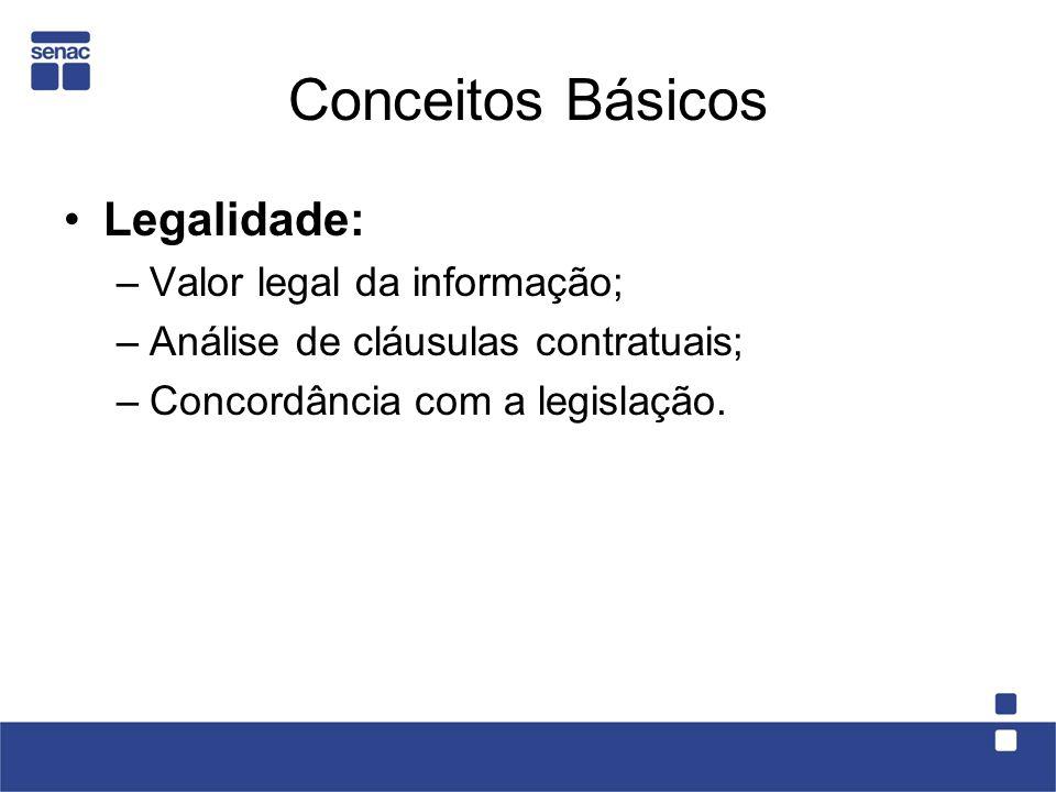 Conceitos Básicos Legalidade: Valor legal da informação;