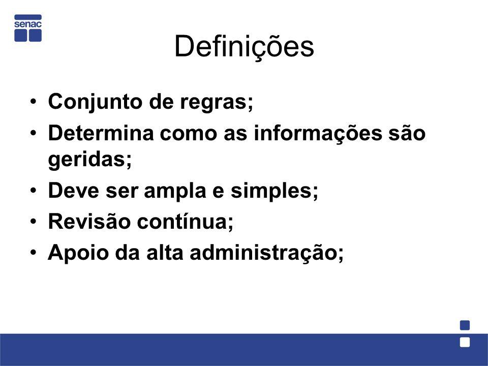 Definições Conjunto de regras;