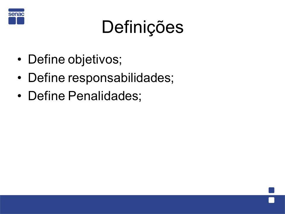 Definições Define objetivos; Define responsabilidades;